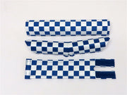 Checkers Blue and White V-bar BMX Pad Set