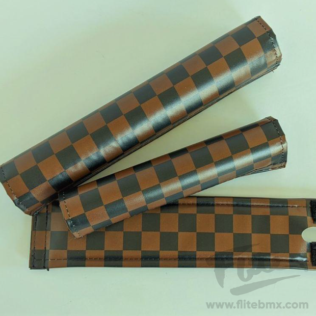 Classic Checkers Brown and Black BMX Pad Set - Extra Wide Bar Pad