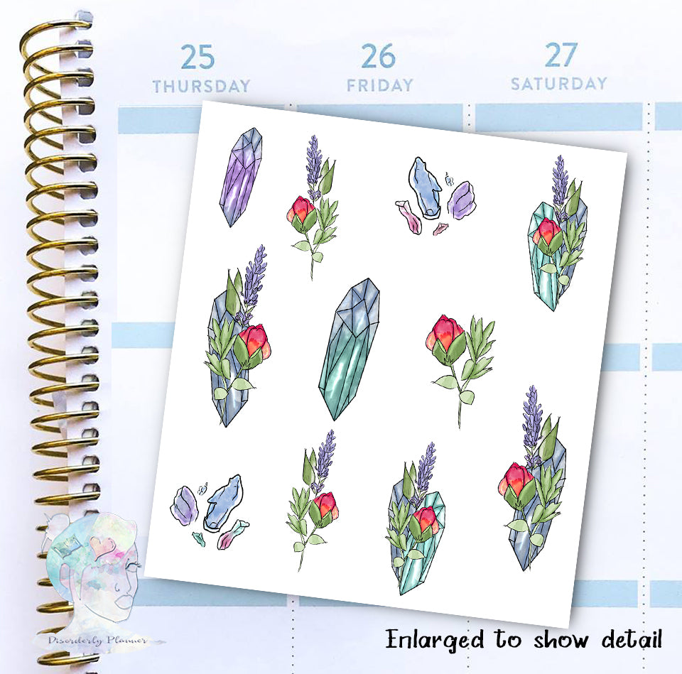 Flowers & Crystals - Decorative Stickers