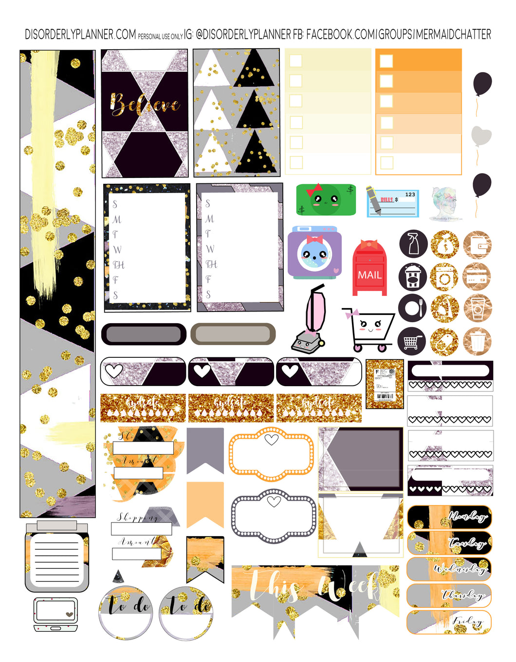 Geometric Printable Planner Stickers