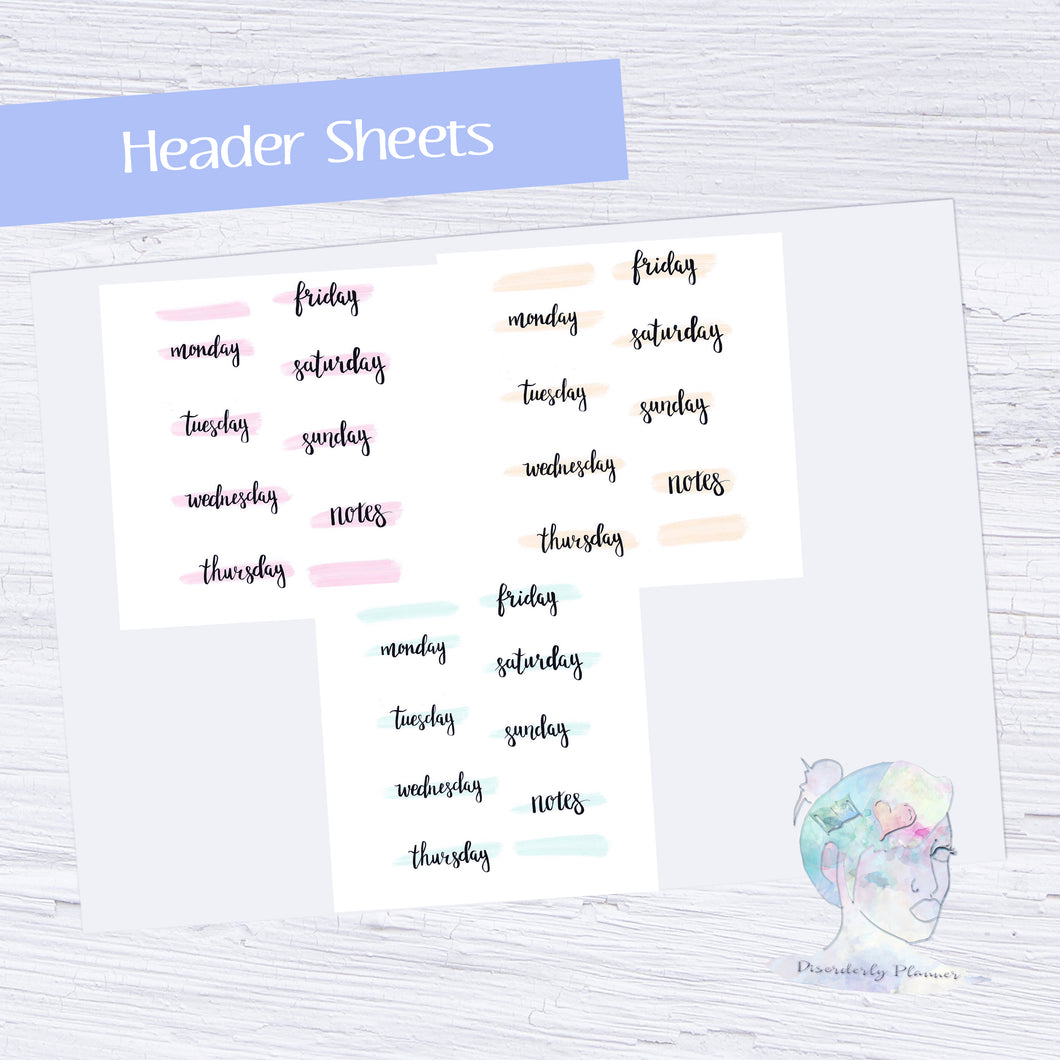 Original Handlettered Weekday Script Functional Stickers - Headers - pastel strike through