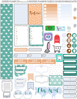 Blue Birds Printable Planner Stickers