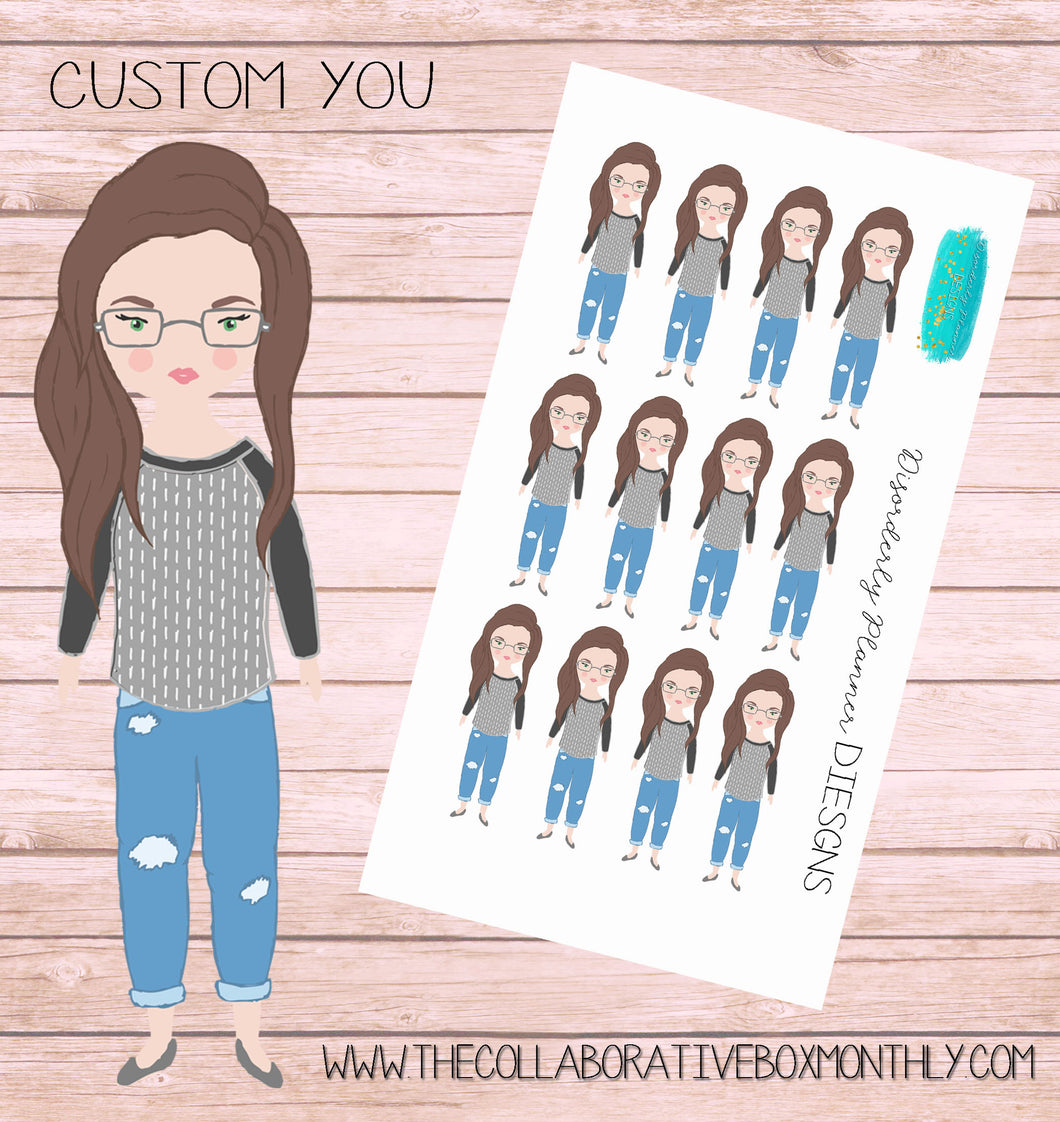 Personalized character - custom character products - planner sticker sheets - mult-cultural