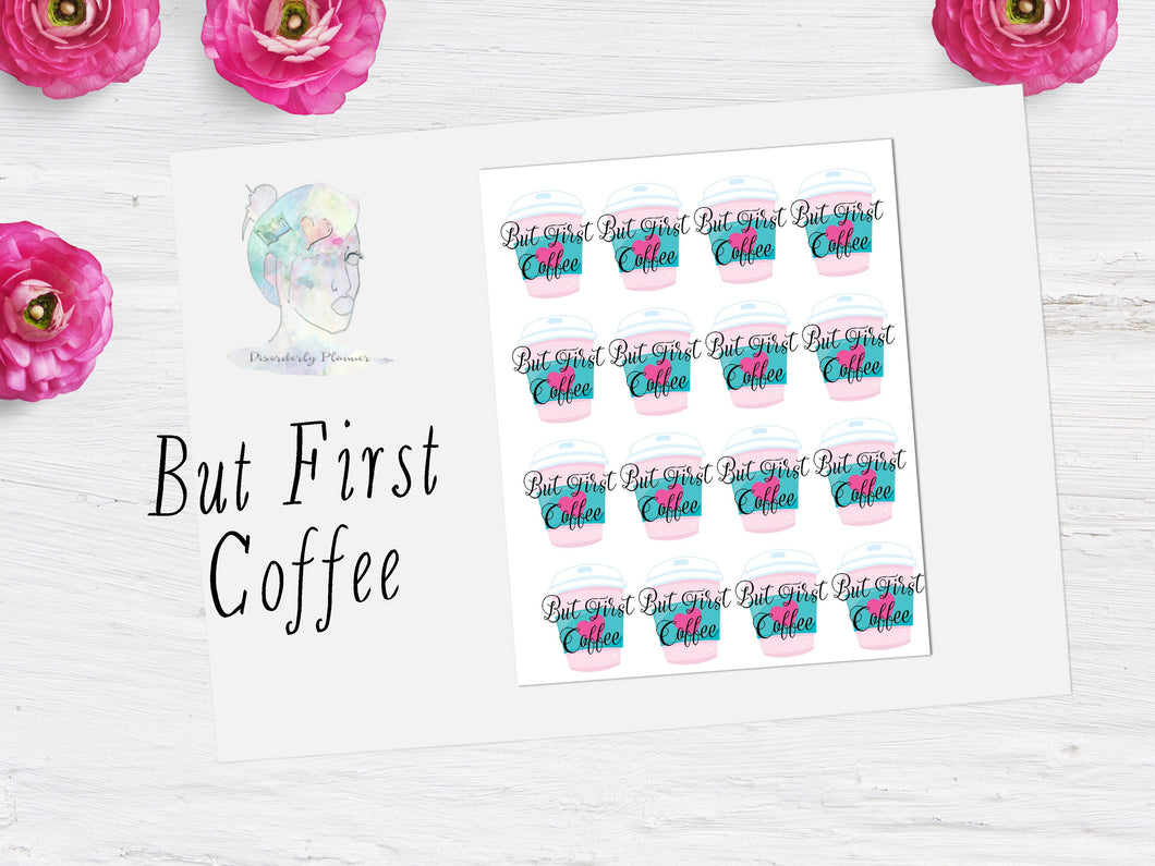 But First Coffee Script Icon Stickers