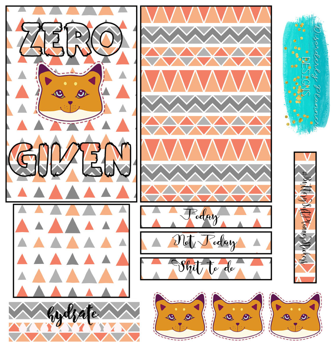 Zero Fox Given Stickers - Tuesday Stickers- Planner Stickers - Fox Stickers mini kit Disorderly Planner Stickers