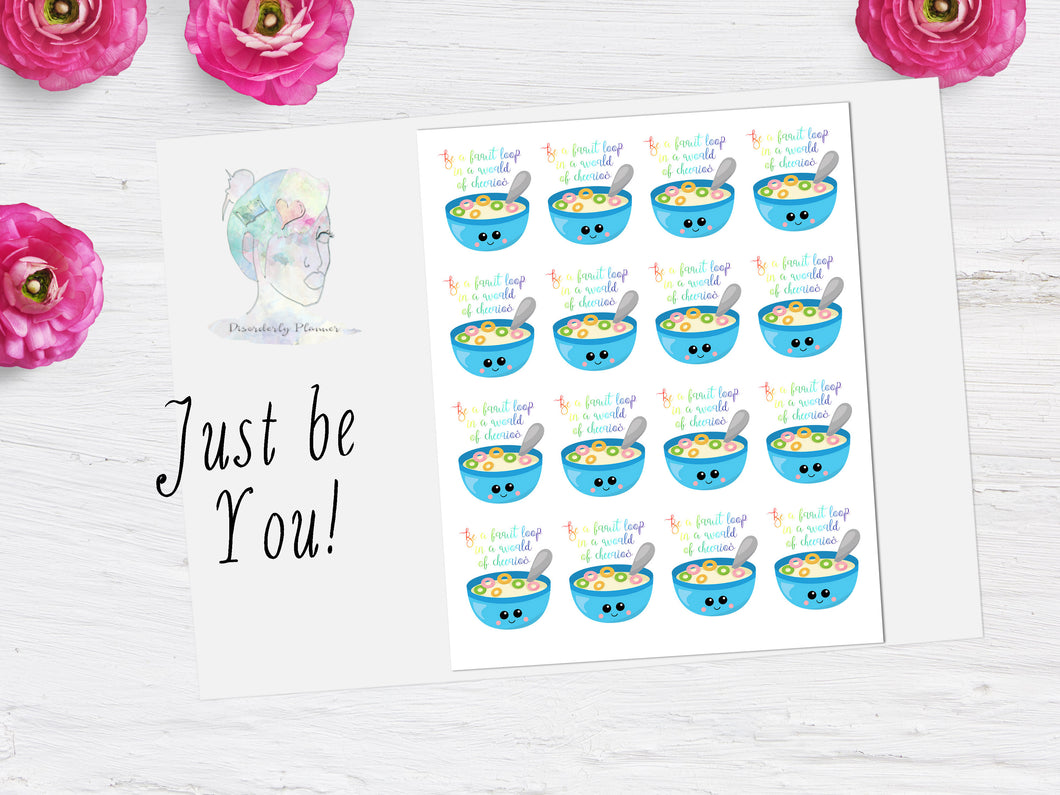 Just be you fruit loop script icon stickers