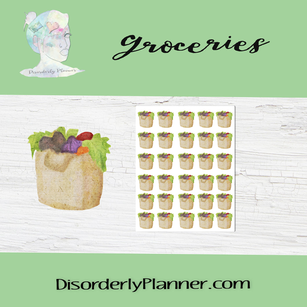 Daily Activities - Watercolored Stickers - Groceries or Farmer Market