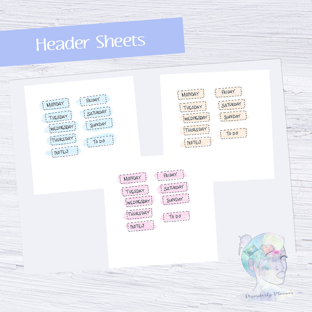 Original Handlettered Weekday Script Functional Stickers - Headers - pastel box