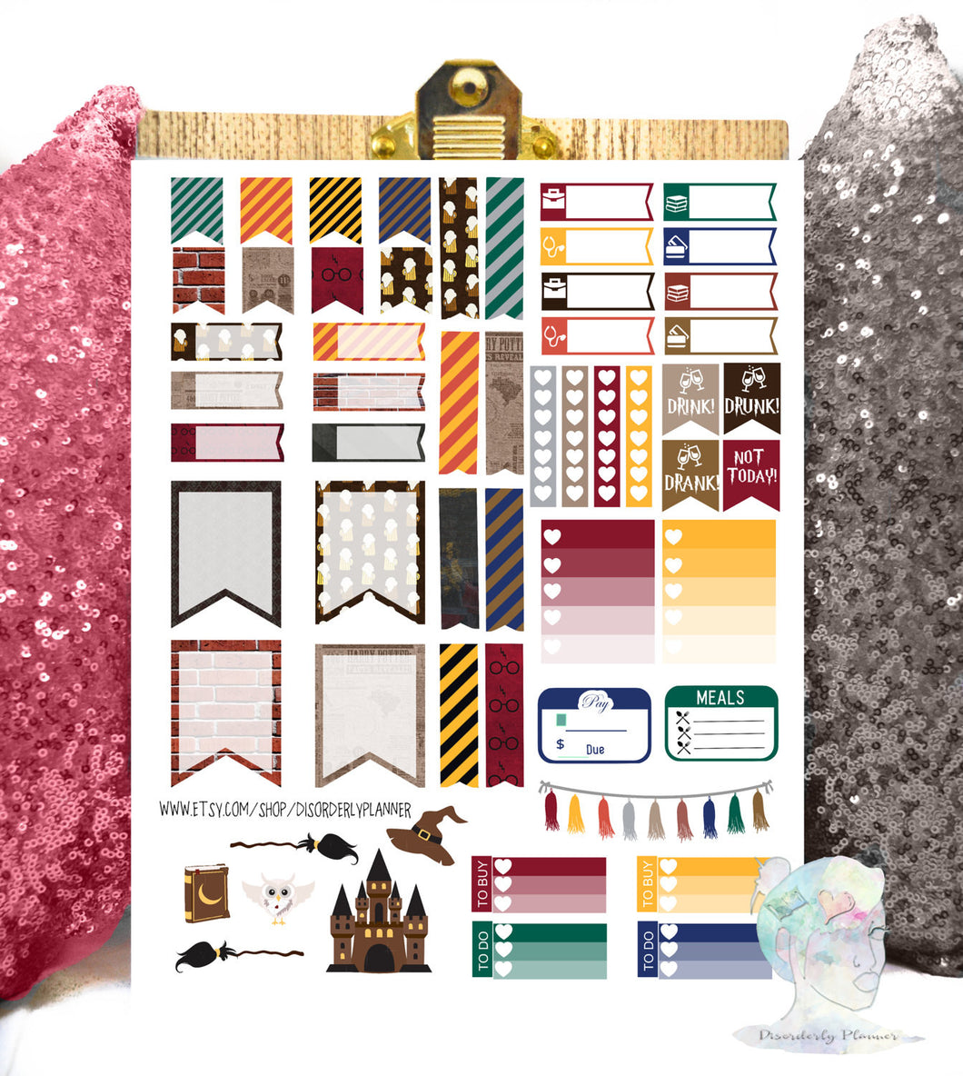 Harry Potter Printable Planner Stickers Kit Ec Wizard Functional