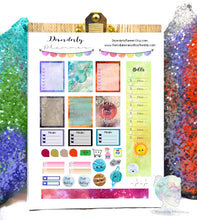 Solar System Space Galaxy Printable Planner Stickers Kit. EC  Kawaii functional Set, Banners Titles Icons, Sticker Set