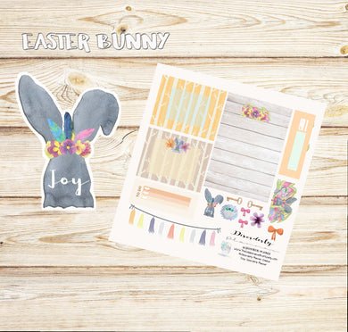 Cute Easter Stickers, Easter Bunny Stickers, Holiday mini kit