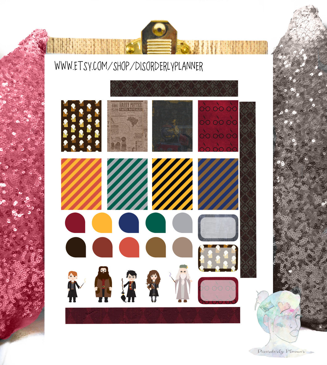 Harry Potter Printable Planner Stickers Kit. EC  Wizard functional Set, Banners Titles Icons, Sticker Set