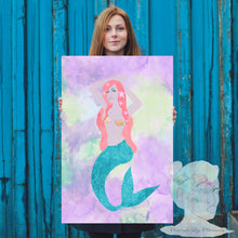 Custom  poster Mermaid portrait, watercolor, painting, drawing Disorderly Planner,family portrait, Merbaby, baby, nursery, bathroom, art,