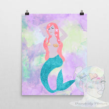 Original Artist poster Mermaid satin finish, clam shell bra, siren, watercolors, Disorderly Planner