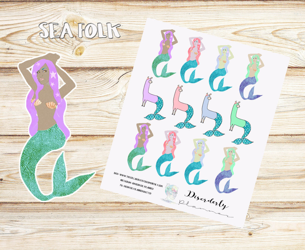 Cute - Mermaid Stickers - MerLlama Stickers - Planner Stickers - Erin Condren  - Happy Planner -Filofax - Decorative