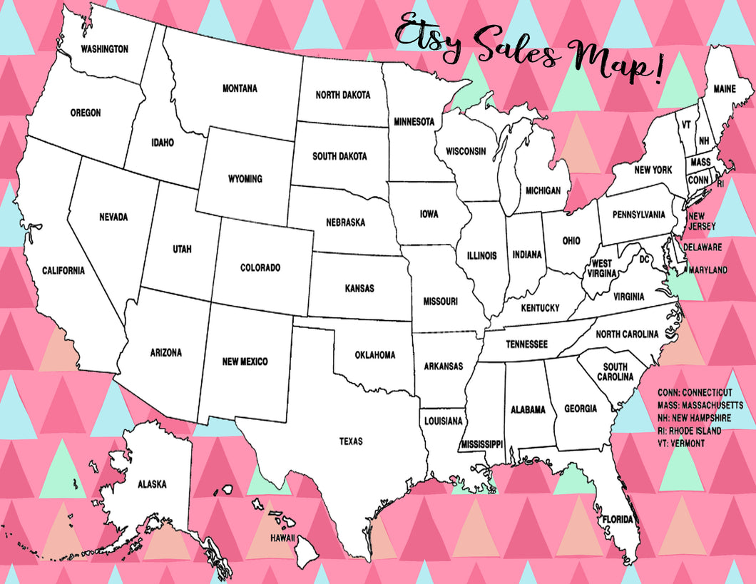 Etsy Sales State Map U.S. Coloring Page United States Sales Tracker Digital  File