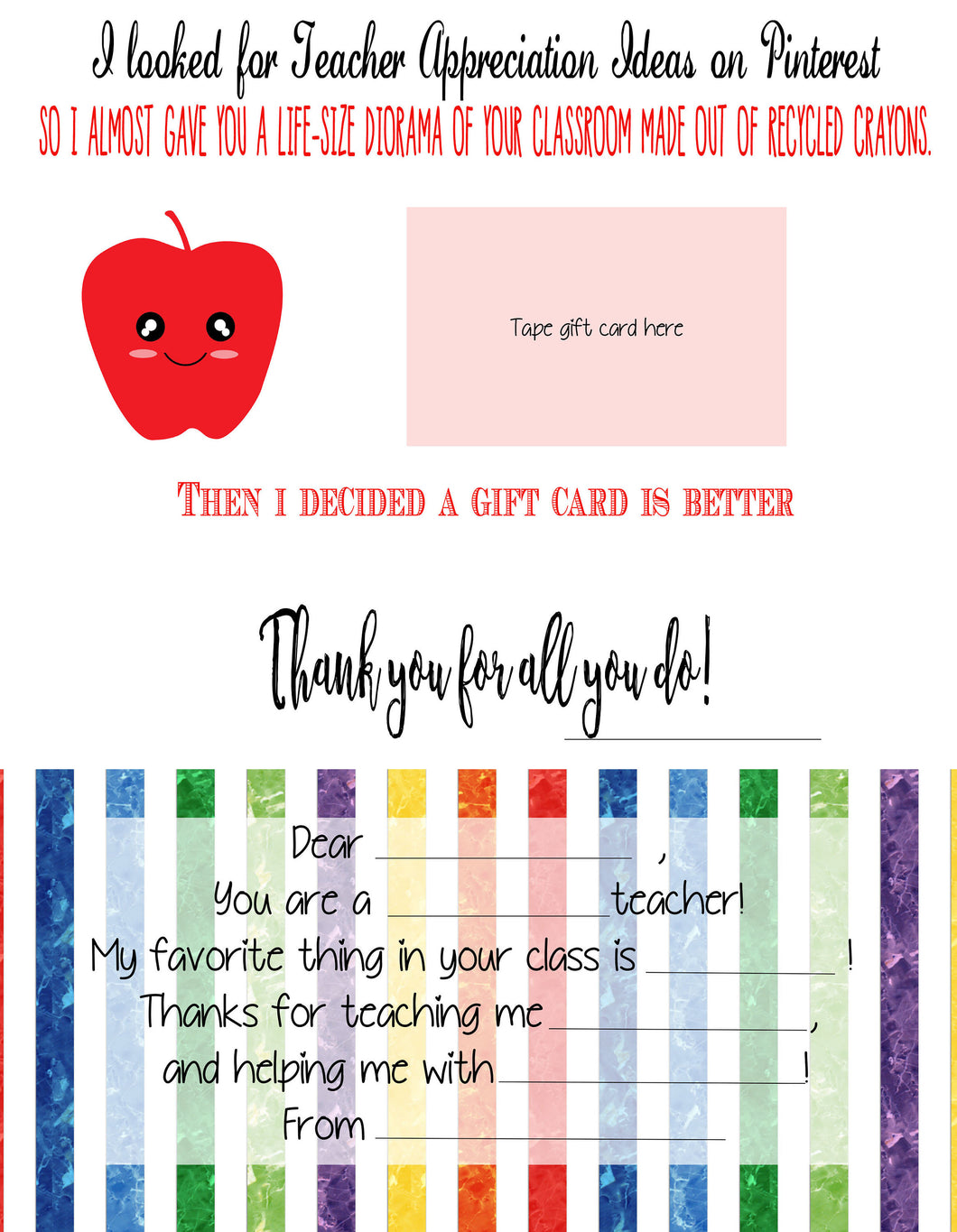 Funny Teacher Appreciation - Gift - Card - Teacher Appreciation Week - Teacher Gift - Teacher Giftcard - Printable Card - Worksheet - Mentor