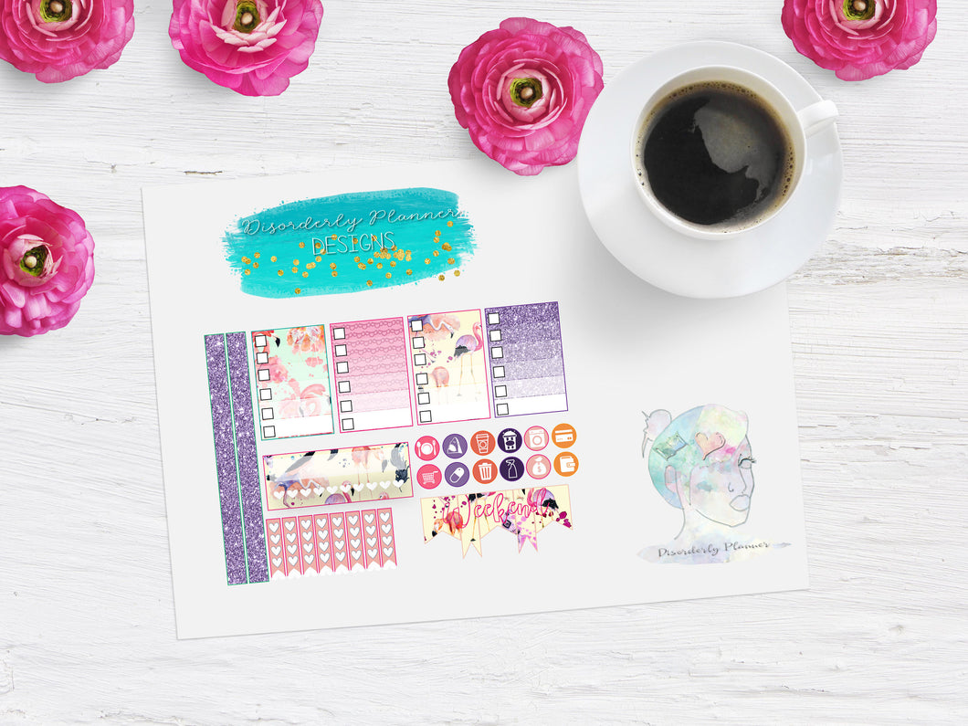 Flamingo Glitter Weekly sampler