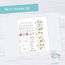 Micro Header Date cover Functional Set - TN - Planner Stickers -Marble Stickers - Summer Stickers