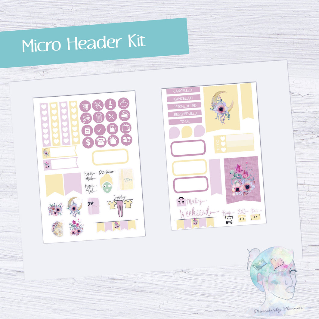Micro Moon Flower Functional Set - TN - Planner Stickers - Moon Flower Stickers - Summer Stickers