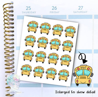 Bus Stickers - School bus - Transportation - functional doodle write ins Disorderly Planner Designs - planner stickers