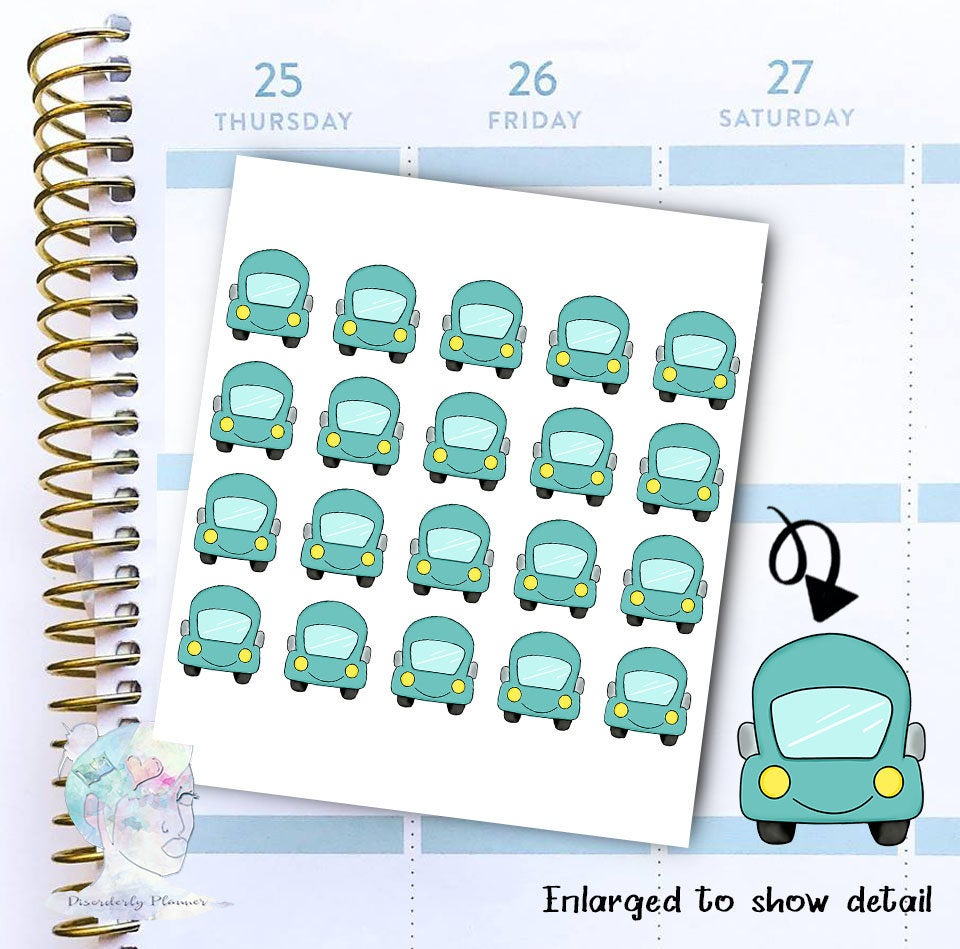 Car Sticker -  Transportation - functional doodle write ins Disorderly Planner Designs - planner stickers