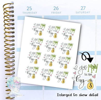Script - Hand Lettered - Money - Pay Day - functional doodle write ins Disorderly Planner Designs - planner stickers