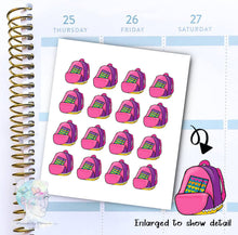 Back to school stickers - backpack - school -  functional doodle write ins Disorderly Planner Designs - planner stickers