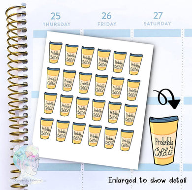 Probably - Coffee Sticker -  functional doodle write ins Disorderly Planner Designs - planner stickers