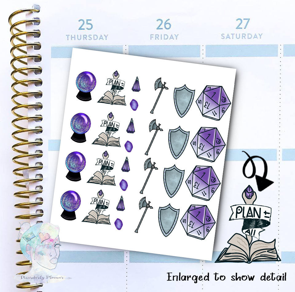 D20 - MTG - RPG Stickers - Dice  -  Magic- functional doodle write ins Disorderly Planner Designs - planner stickers