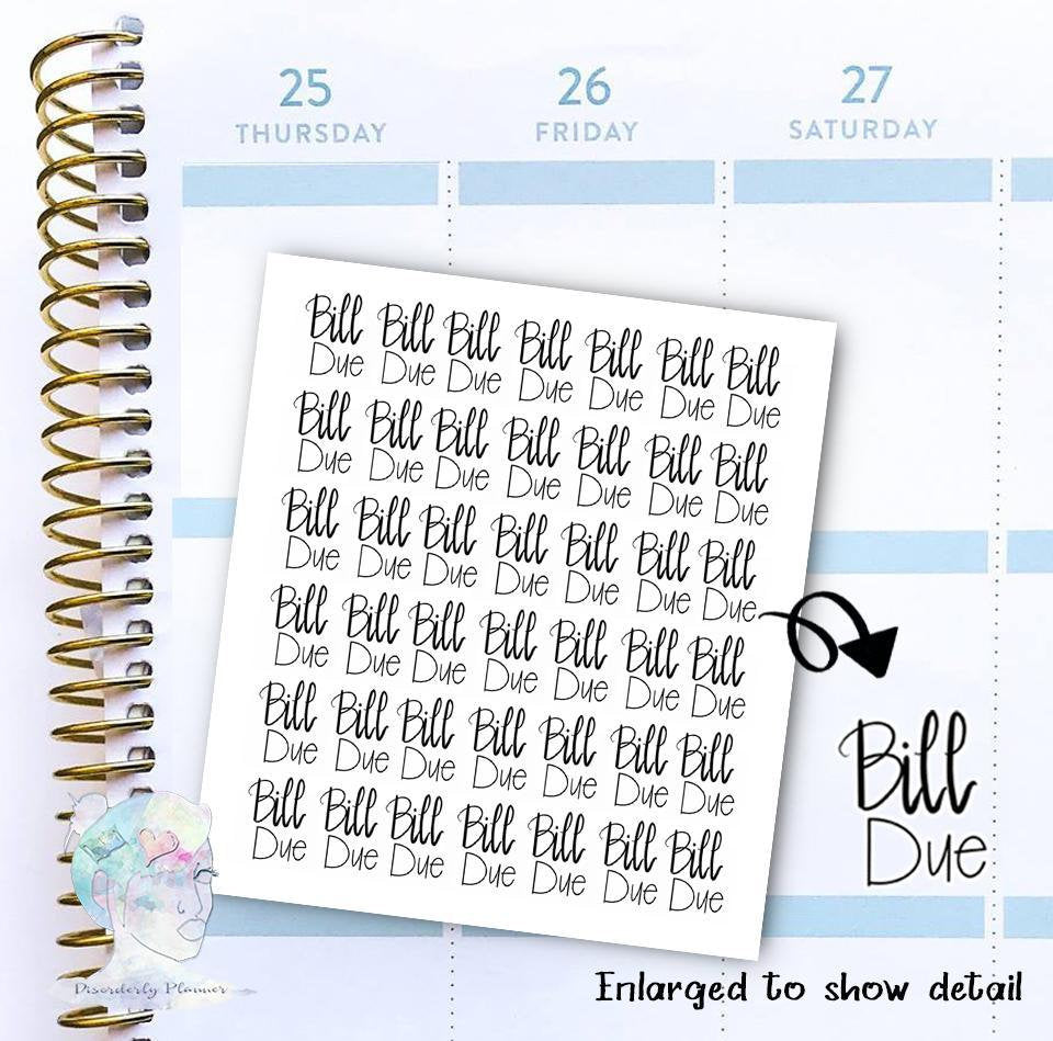 Bill Due - functional doodle write ins Disorderly Planner Designs - planner stickers
