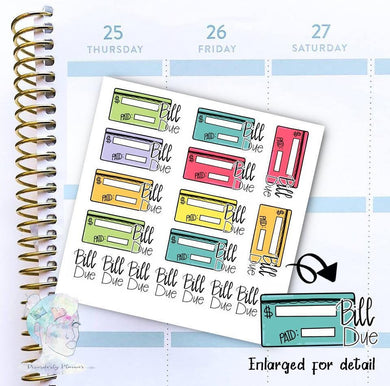 Write In Bill Due - functional doodle write ins Disorderly Planner Designs - planner stickers