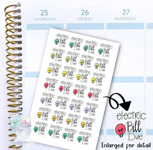Electric Bill Due - functional doodle write ins - planner stickers