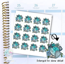 D20 - Die Sticker - Dice  -  Magic- functional doodle write ins Disorderly Planner Designs - planner stickers