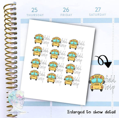 Field Trip - Bus Stickers - School bus - Transportation - functional doodle write ins Disorderly Planner Designs - planner stickers