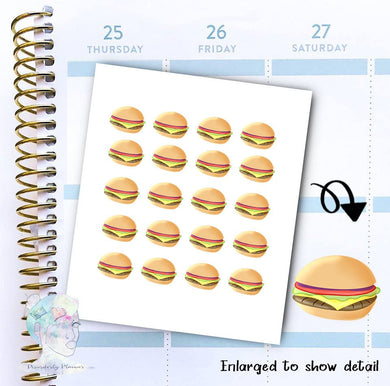 Cheeseburger Stickers - Fast Food - Take Out - functional doodle write ins Disorderly Planner Designs - planner stickers