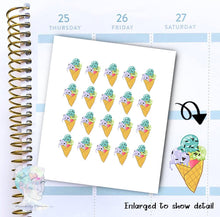 Ice Cream Stickers - Gelato - Dessert -  functional doodle write ins Disorderly Planner Designs - planner stickers