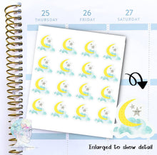 Moon Stickers - Weather -Night -  functional doodle write ins Disorderly Planner Designs - planner stickers