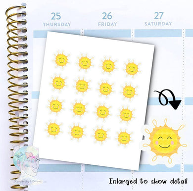 Sun Stickers - Weather - Sunny Day -  functional doodle write ins Disorderly Planner Designs - planner stickers