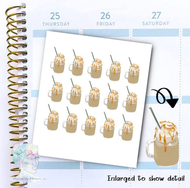 Coffee- Iced Coffee - Frappe - functional doodle write ins Disorderly Planner Designs - planner stickers