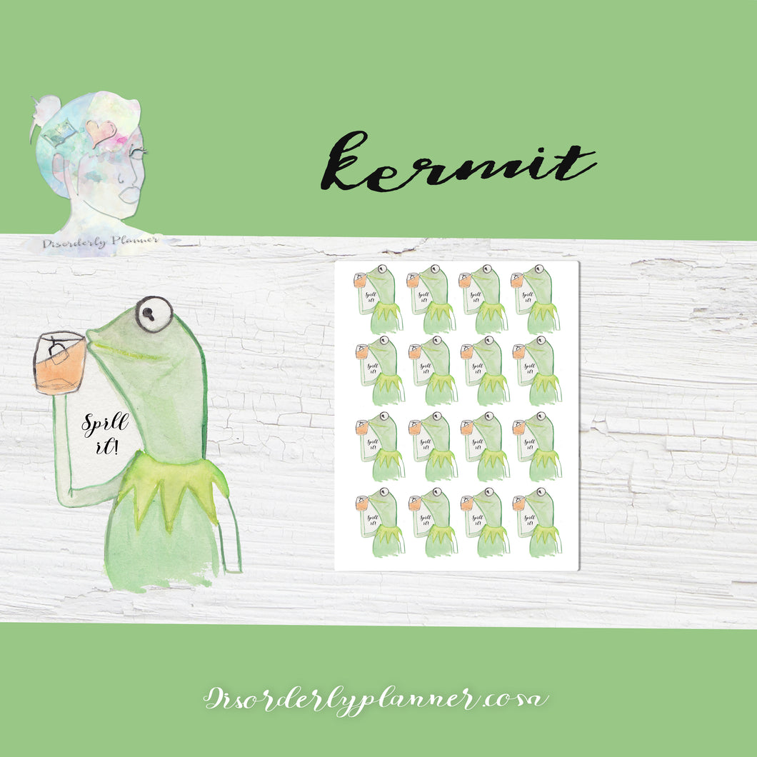 Muppet themed Kermit Tea Stickers - Celebrities - Mature Content Warning