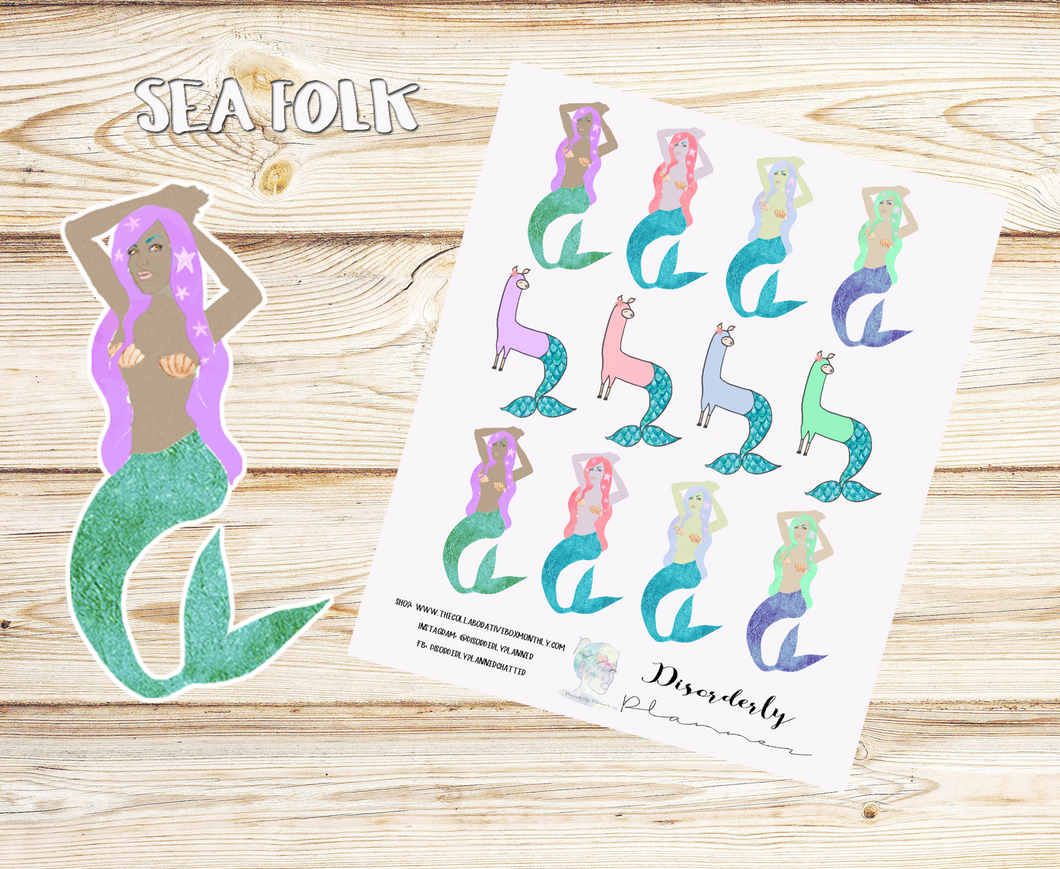 Cute Mermaid Stickers, MerLlama Stickers, Planner Stickers,