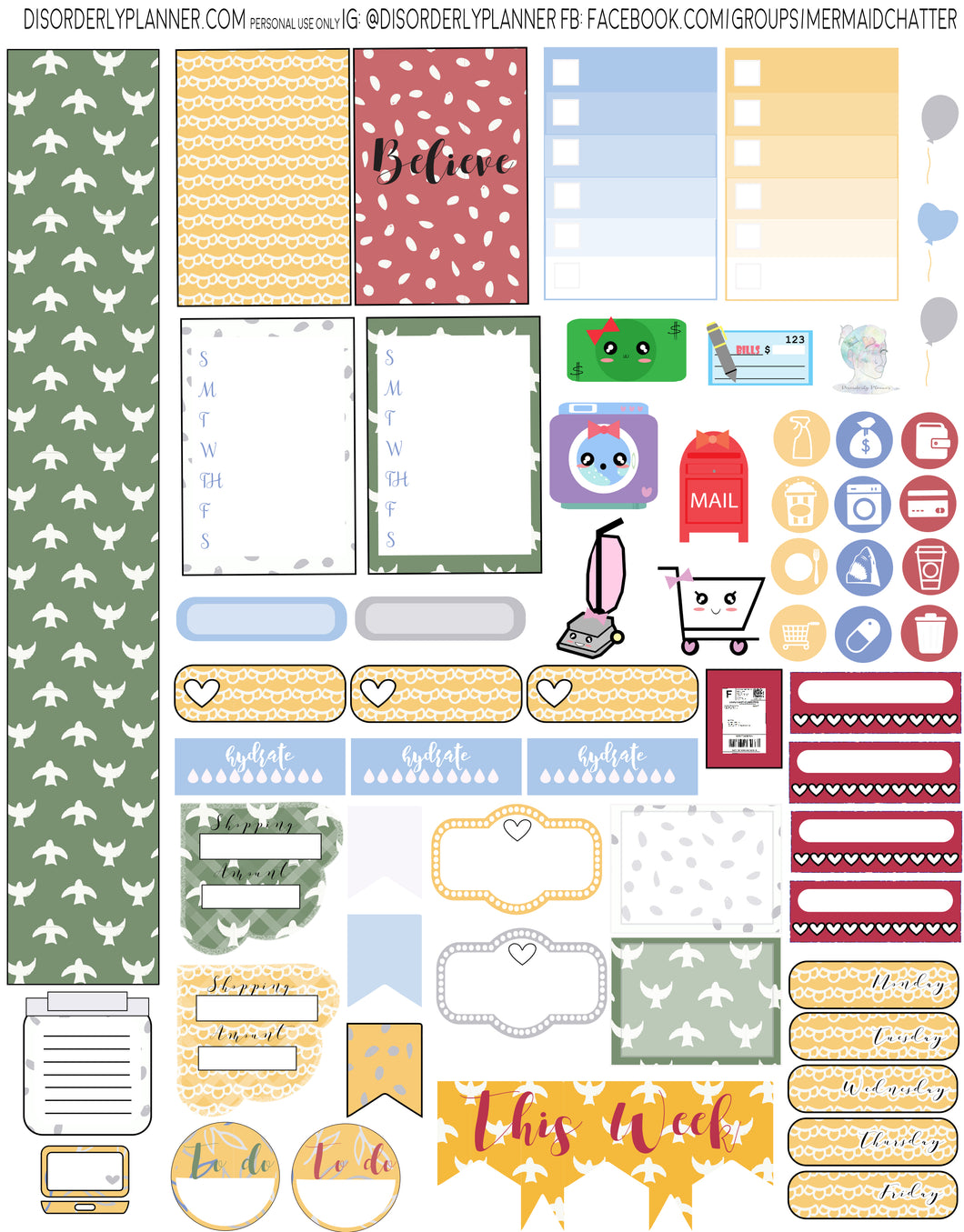 Nature Birds Printable Planner Stickers