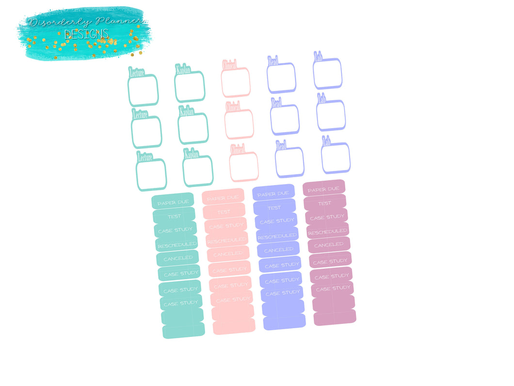 Nursing School Custom Colored Planner Stickers