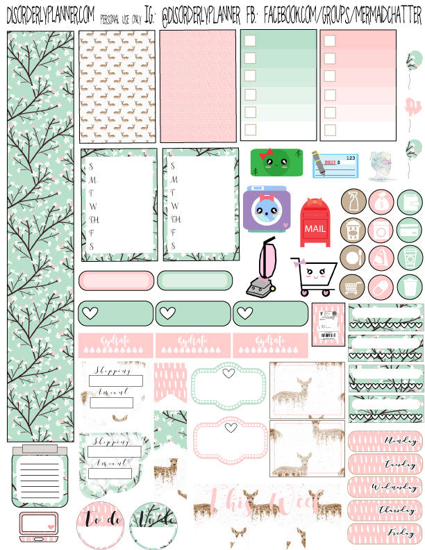 graphic relating to Stickers Printable called Pastel Wintertime Printable Planner Stickers