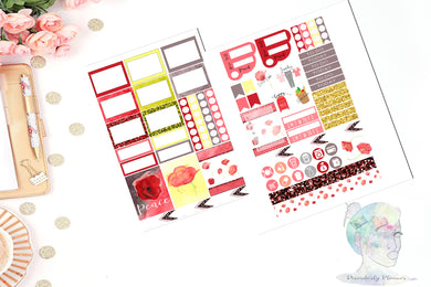 Original Watercolor Functional Mini Weekly Page Kit