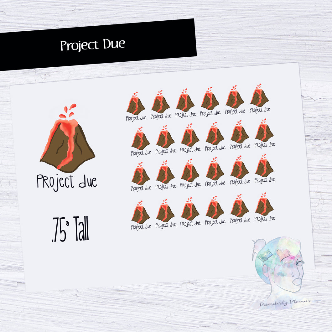 Hand Drawn Stickers -  Project Due - Volcano
