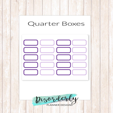 Custom Colored Quarter Boxes Functional Stickers
