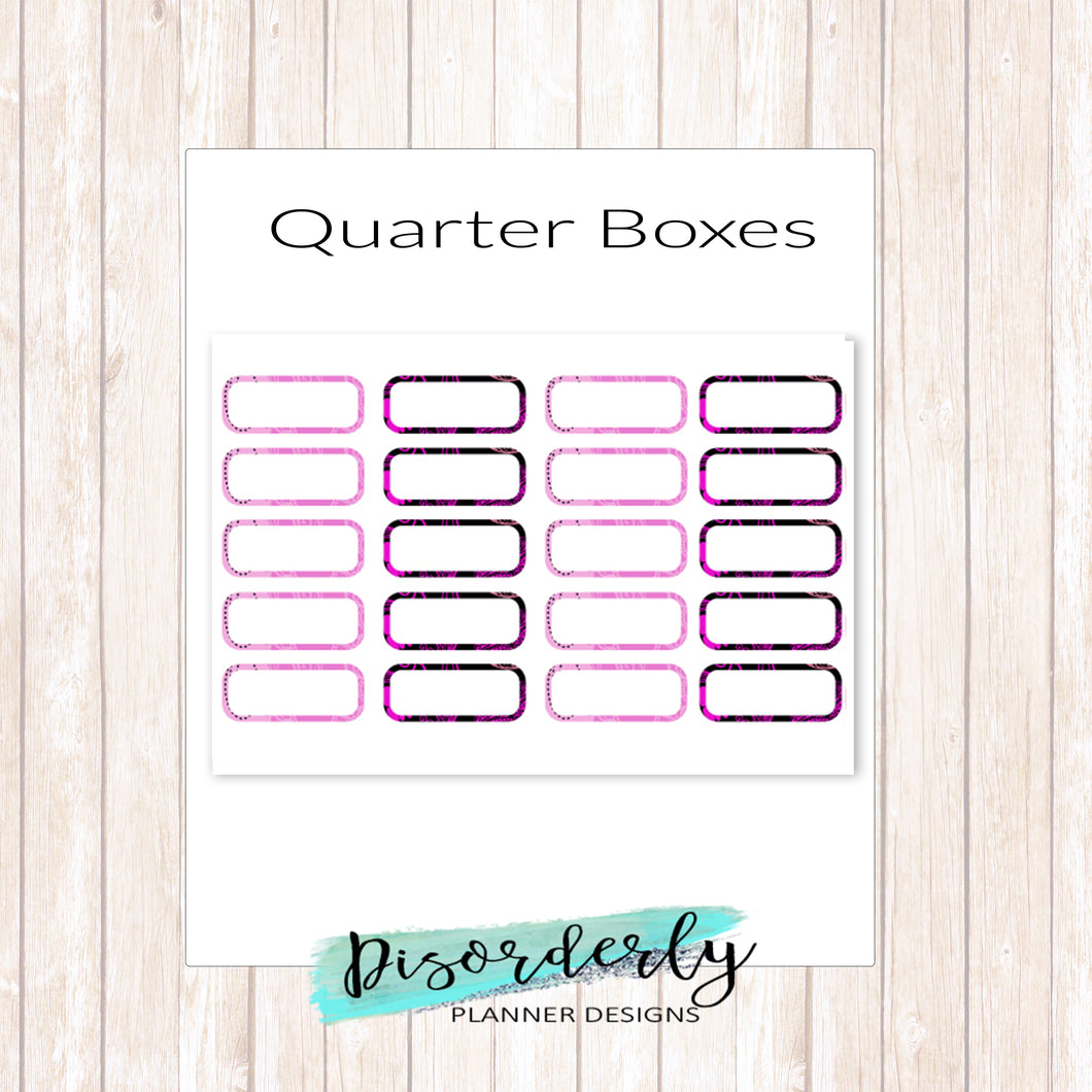 Patterned Quarter Boxes Functional Stickers