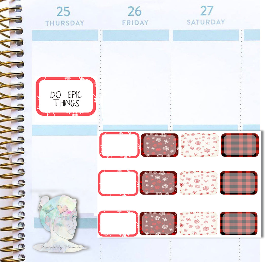Holiday Half Boxes Functional Stickers - Buffalo Plaid
